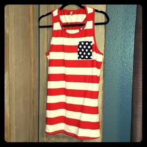 Red, white and blue tank top